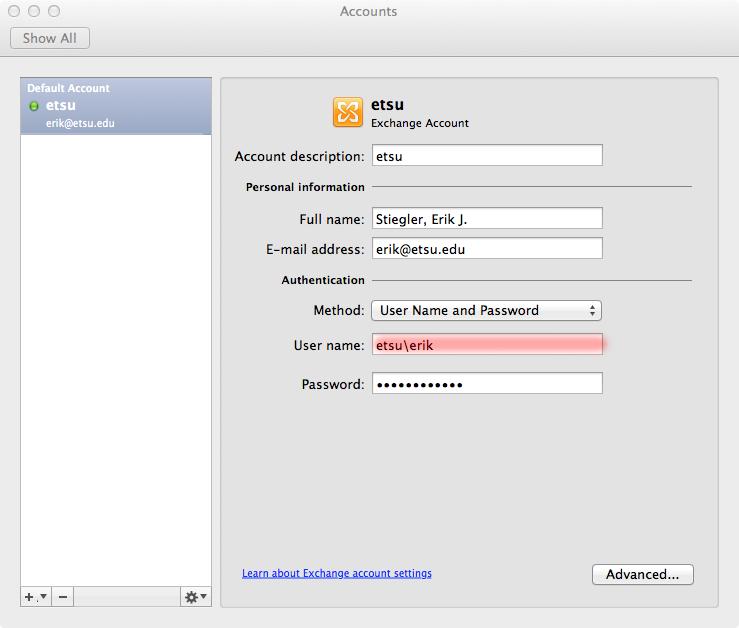 Mac Account information for etsu